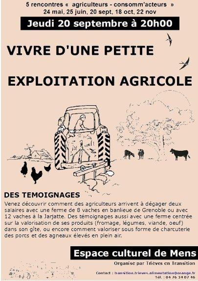 Rencontre Agriculteurs-consommateurs le 20 septembre à Mens vivre